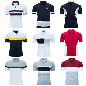 New Men's Eagle Polo Shirt Short Sleeve Striped Cotton T Shirt with Embroidered
