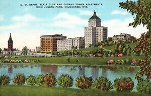 Vintage Postcard 1930s N.W. Depot Elk's Club & Cudahy Tower Apartments Milwaukee
