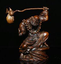 China Boxwood Carving Warrior Monks Arhat Damo Bodhidharma Dharma Buddha Statue