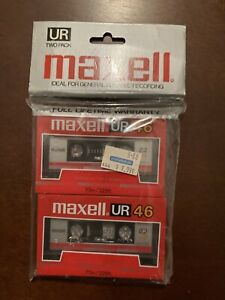 Maxell UR 46 Blank Recordable Audio Cassette Tapes New/Sealed 2 Pack