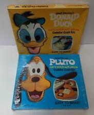 2 Mid Century 1973 Walt Disney Productions Cuddle Craft Kit Donald Duck & Pluto
