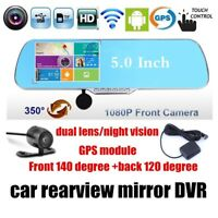 5'' Touch Android Rearview Mirror Dash Camera Recorder Dual Car DVR GPS WiFi FM