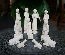 Crèche Noël en bois sacré 12 santons Christmas crib artisanat Madagascar