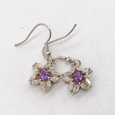 VINTAGE FAUX AMETHYST PASTE RHINESTONE CLUSTER FLOWER PENDANT LADIES EARRINGS