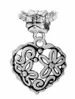 Flower Heart Floral Love Garden Dangle Charm fits Silver European Bead Bracelets