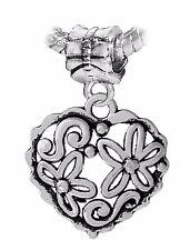 Flower Heart Floral Love Garden Dangle Charm fits Silver European Bead Bracelets