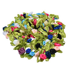 100x Rose Ribbon DIY Applique Accessiories with Leaf Fabric Flower for Decor EF