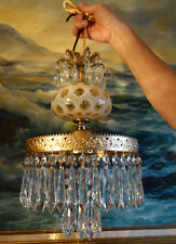 Vintage SWAG Lamp Chandelier Fenton Honeysuckle Glass brass tole Dining Room