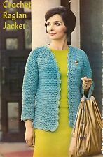 VINTAGE Raglan Jacket/Cardigan/Apparel/ Crochet Pattern INSTRUCTIONS ONLY