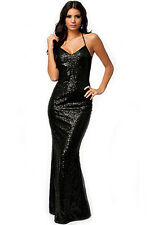 Shinning All over Sequin Low Back Hollow Out Gown Long Dress Black Medium