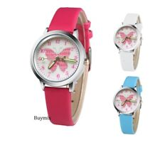 Butterfly Wrist Watch Children Kids Girls Party Gift PU Leather Band Stocking