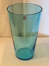 Scandinavian Finland Iittala Light Blue Turquoise Minimalist Vtg Glass Vase