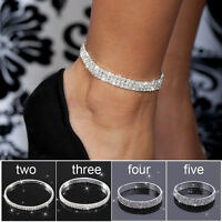 1pcs Ankle Bracelet Silver Rows Women Diamante Anklet Foot Jewelry Beach Chain