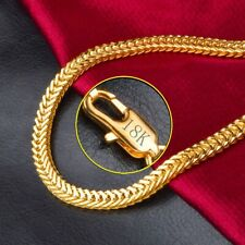 18k Gold Women's Men's Wide 6mm Cuban Curb Link Chain Necklace Giftpkg D544