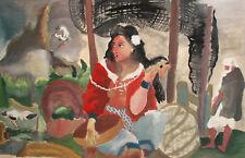 Vintage gouache painting impressionist woman portrait