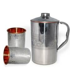 Copper Water 1 Pitcher jug & 2 Glasses Set For Drinking Water Indian Ayurveda