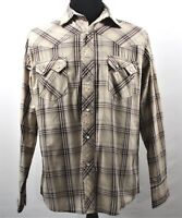 Wrangler Western Mens Large Brown Striped Pearl Soft Button Snap Long Sleeve