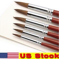 6Set/Pcs Kolinsky Red Sable Hair Round Tip Artist Paint Brush Watercolor Oil US