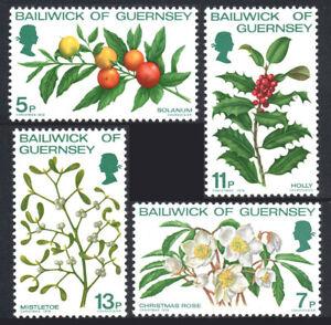 Guernsey 169-172, MNH. Christmas. Solanum, Holly, christmas rose, Mistletoe,1978