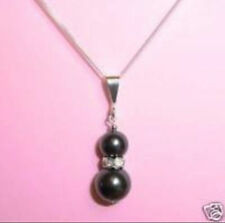 "new Black sea shell Pearl Pendant Necklace 17""AAA"