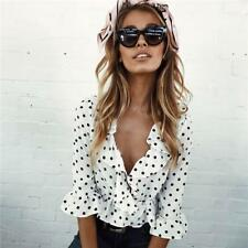 Women Fashion Deep V-neck Polka Dot Wrap Long Sleeve Crop Tops Blouse Shirt  LG