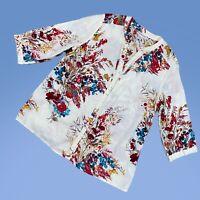 HANNAH Womens Top XL Floral Long Sleeve Button Up Cotton