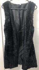 Vintage Black Faux Fur Long Line Vest Size 8 90's