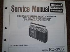 Panasonic RQ-316S REGISTRATORE A CASSETTE MANUALE SERVIZIO diagramma di cablaggio parti