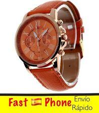 Reloj mujer Geneva con Números romanos. caja dorada. color naranja. oferta 4x3.
