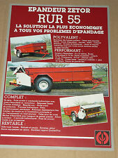 Prospectus  Tracteur ZETOR  Epandeur RUR55   tractor traktor prospekt brochure