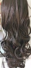"""CLIP IN DRAWSTRING WAVY CURLY 18"""" LONG PONY TAIL HAIR PIECE  MIDNIGHT BROWN 4"""