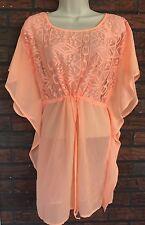 Xhilaration Beach Tunic Small Bright Neon Orange Semi Sheer Kimono Sleeves Dress