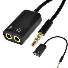 3.5 mm estéreo divisor de Audio macho a auriculares auriculares + mic adaptador