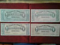Set of 4 Mexico 1915 Revolutionary Banknotes, 1, 5, 10, 20 Pesos *F-VF* ^%