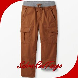 NWT HANNA ANDERSSON DOUBLE KNEE JERSEY LINED RELAXED CARGO PANTS BROWN 110 5