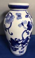 "Vintage blue & white vase Nice floral pattern 6 1/4"" tall"