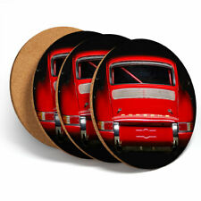 4 Set - Red Vintage Car Racing Coasters - Kitchen Drinks Coaster Fun Gift #12564