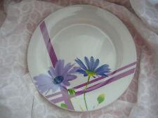 Eurohome flacher Teller Eßteller lila blaue Blumen und Streifen