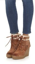 75cb49b1c7fd NEW Sam Edelman Kemper Wedge Fringe Boots Size 7 Mocha Brown Suede