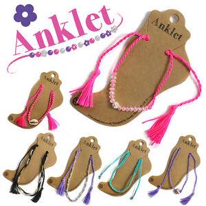 2 x Ladies Crystal Ankle Bracelet Cord Adjustable Anklet Foot Charm Jewellery UK