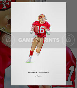 Joe Montana San Francisco 49ers Illustrated Football Print Poster Art