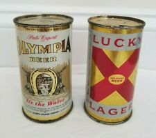New ListingFirst 2-sided Olympia 12oz & Lucky Lager 11oz San Francisco Flat Top Beer Cans