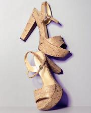 NEW Stuart Weitzman Gleaming Shimmer Brass Cork Once High Heel Platform Sandal 7