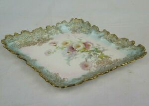 Doulton Burslem Floral Dish Rd No.184625 Vintage Antique with Gilt