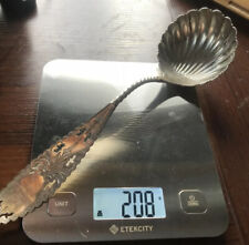 Heavy Antique Coin Silver Bright Cut Handle Scallop Bowl Spoon / Ladle Sterling