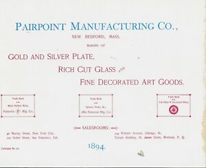 Antique Pairpoint Glass Silver Designs / 1894 Catalog Reprint Book + Values