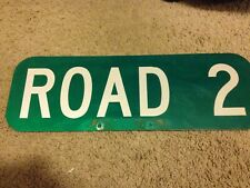 """Retired Street Road Sign ROAD 2 Dual Sided Green And White Metal 18"""" x 6"""""""