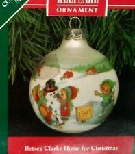 """Hallmark Betsey Clark """"Home for Christmas"""" Glass Ball Ornament 1991 Box Usa Made"""