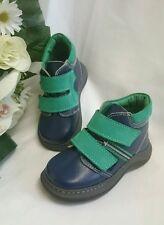 BABY Halbstiefel Kinder Schuhe Herbst MADE IN ITALY Gr. 20 Blau Grün LEDER Klett