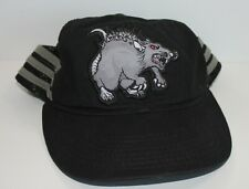 Baseball Hat Cap Black Grey Rat Spike Snapback 3 Stripe